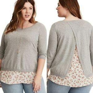 Torrid floral chiffon layered sweater